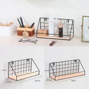 Details zu Gitter Wandregal Metall Hängeregal Bad Regal Küchenregal mit  Holz Ablage DE