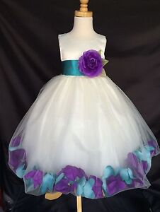 c7e77dfa777 Image is loading Mardi-Grass-Ivory-Flower-Girl-Bridesmaids-Mixed-Petal-
