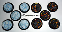 30mm UNPAINTED, New Style, ROUND bases - Ice/Lava 10x RESIN
