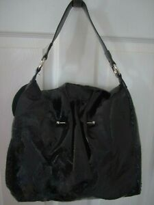 CHI-by-Carlos-Falchi-Gorgeous-Glossy-Black-Patent-Leather-Shoulder-Bag-Purse-EUC