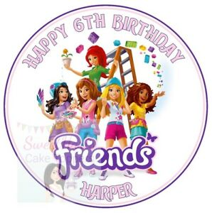 Lego Friends Cake Topper Personalised Round Edible Cake Or