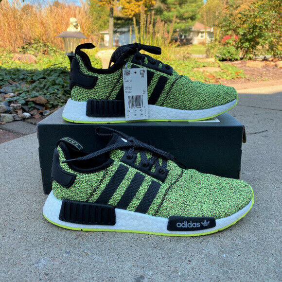 adidas Originals NMD R1 Shoes Men's (Size 9.5) Black Yellow White EE4400