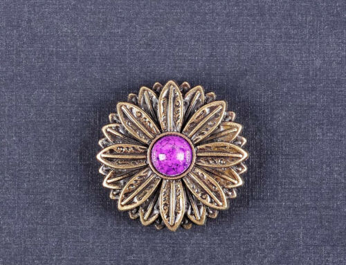 10PC 30*30MM Flower Craft Equestrian Concho with Purple Turquoise Antique Brass