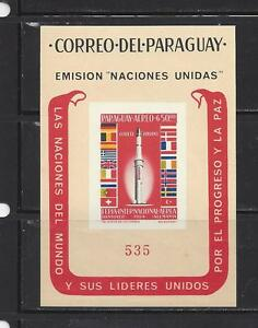 PARAGUAY - 835a - S/S - MNH - 1964 - IMPERFORATED - ROCKETS - FLAGS OF EUROPE