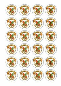 Image Is Loading 24 X HARRY POTTER Cupcake Toppers HOGWARTS CREST