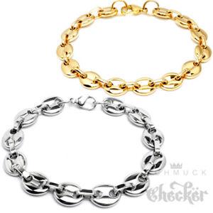 Edelstahl-Damen-Armband-ausgefallen-retro-70er-rund-Knopf-silber-gold-Cartier