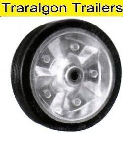 Jockey-Wheel-8-039-039-200mm-Solid-rubber-Tyre-Steel-centre-Trailer-caravan-boat-F36