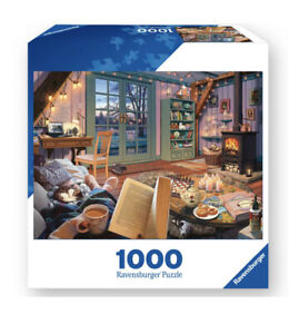 Ravensburger-1000-Piece-Jigsaw-Puzzle-Cozy-Retreat-Cabin-Book-Dog-Cat-Fireplace