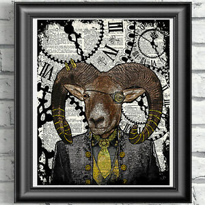 Ram-Sheep-Steampunk-Print-on-Antique-Dictionary-Book-Page-Hipster-Animal
