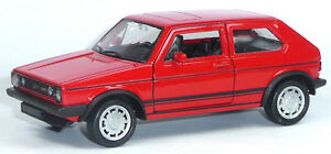 VW-Golf-I-GTI-Modellauto-ca-1-34-Metall-Spritzguss-12cm-rot-Neuware-von-WELLY