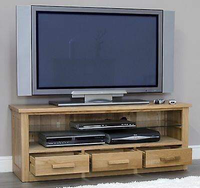 Arden solid oak living room furniture widescreen television cabinet stand unit