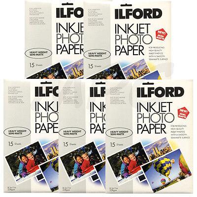 "Inkjet Photo Paper Ilford Semi Matte 8.5x11/"" 15 Sheets for Canon HP Epson"