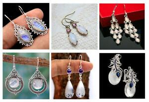 Women-039-s-Silver-925-Retro-Gifts-Moonstone-Handmade-Earring-Jewelry-Earrings-Ear