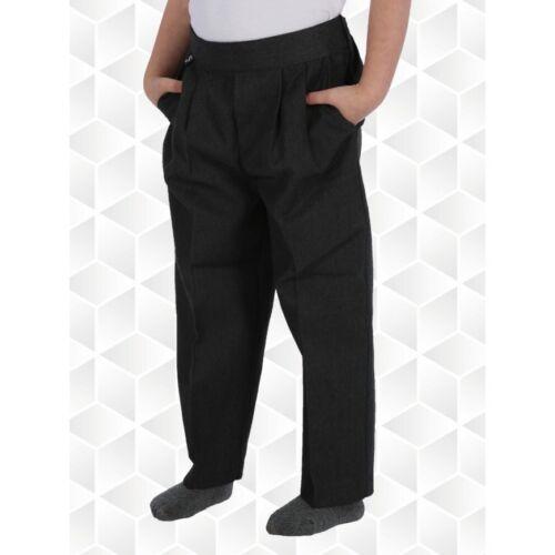 Boys// Kids Pull Up School Trousers Uniform Age 1-13Yrs Half Elasticated Teflon
