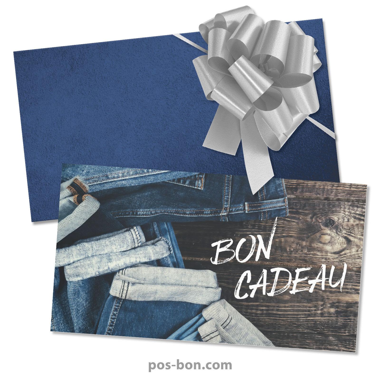 Bons cadeaux + enveloppes + nœuds rub. pour boutiques de mode, jeans FA1263F