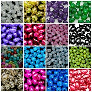 40-Pcs-Oval-Glass-Crackle-Beads-Jewellery-Craft-10mm-x-8mm-Many-Colour-ML