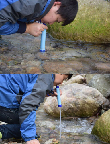 Military 99.99/% Water Filter Purification Emergency Gear Straw Camping Hiking