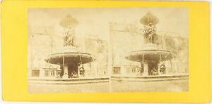FRANCE-Paris-Fontaine-Louvois-Photo-Stereo-Vintage-Albumine-PL62L5