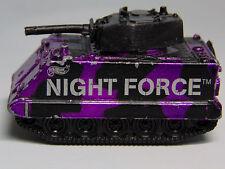 1983 Hot Wheels Night Force Diecast Metal PURPLE CAMO TANK Gun Spins Door Opens