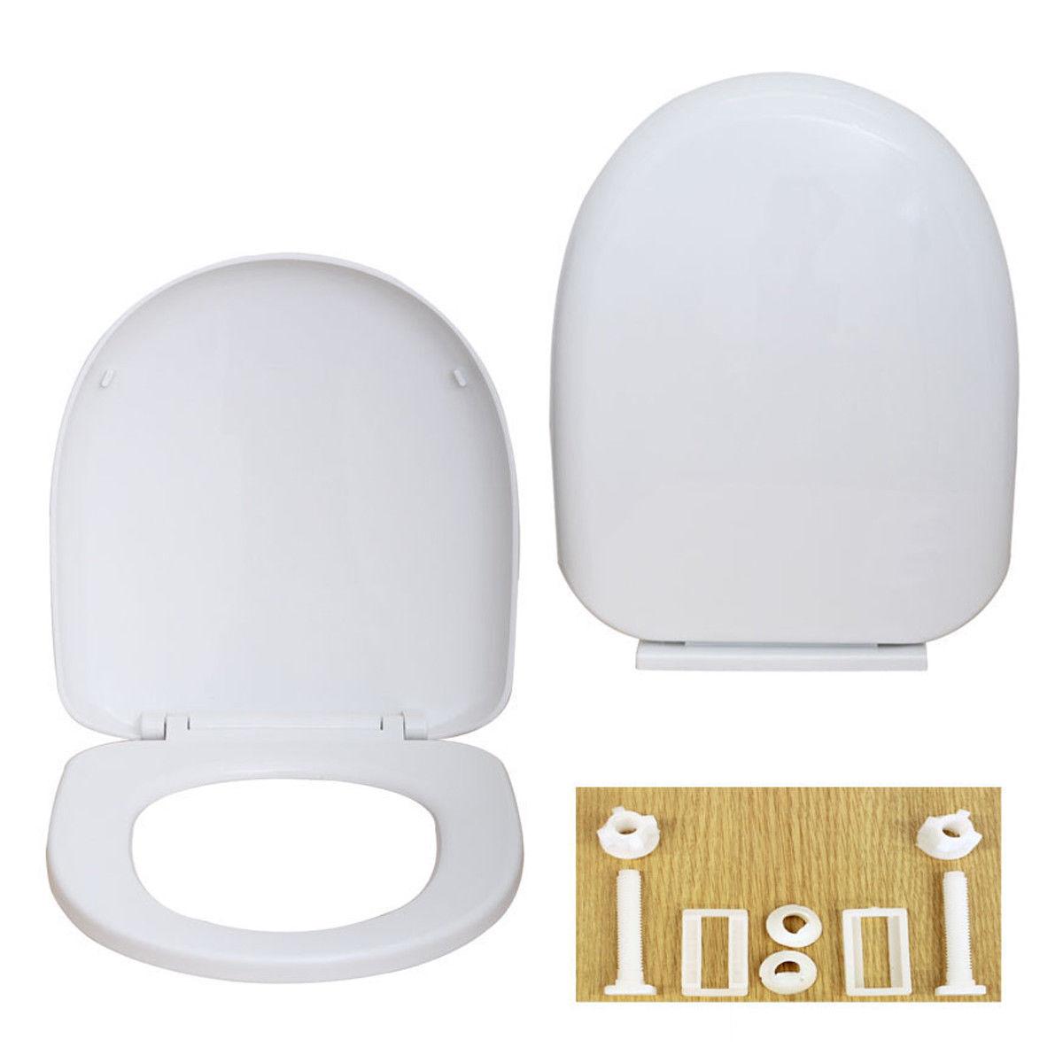 D Forme Souple De Luxe Carré Salle de Bain Toilette Siège Haut Fixation Charnières Couleur Blanc