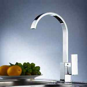 Wash Basin For Kitchen : ... -Handle-Wash-Basin-Mixer-Tap-Chrome-Kitchen-Swivel-Spout-Sink-Faucet