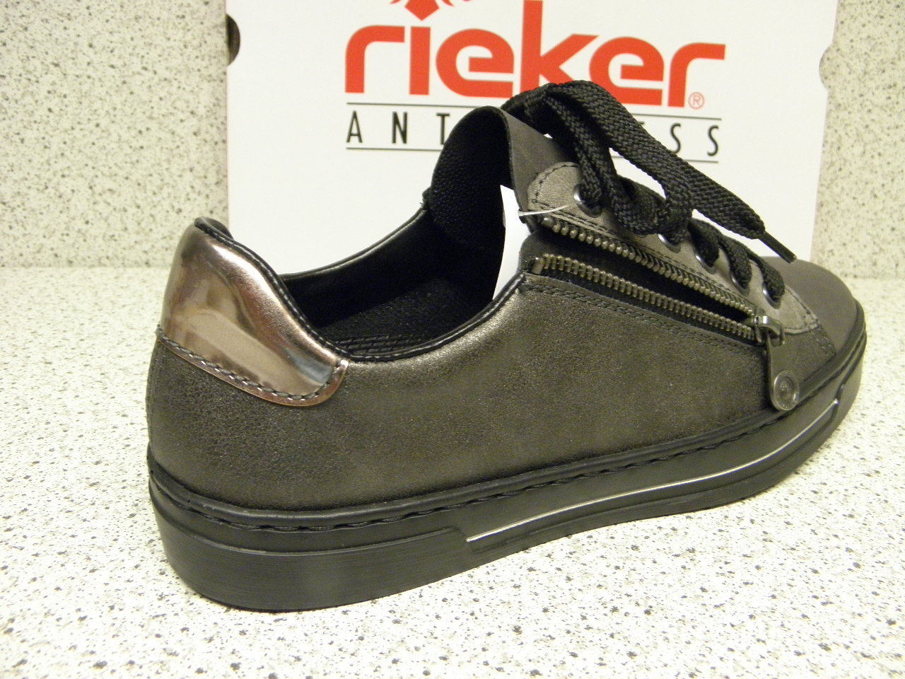 rieker ® ROTuziert, Top Mode grau, + gratis Premium - Socken, L8511-45 (R392)