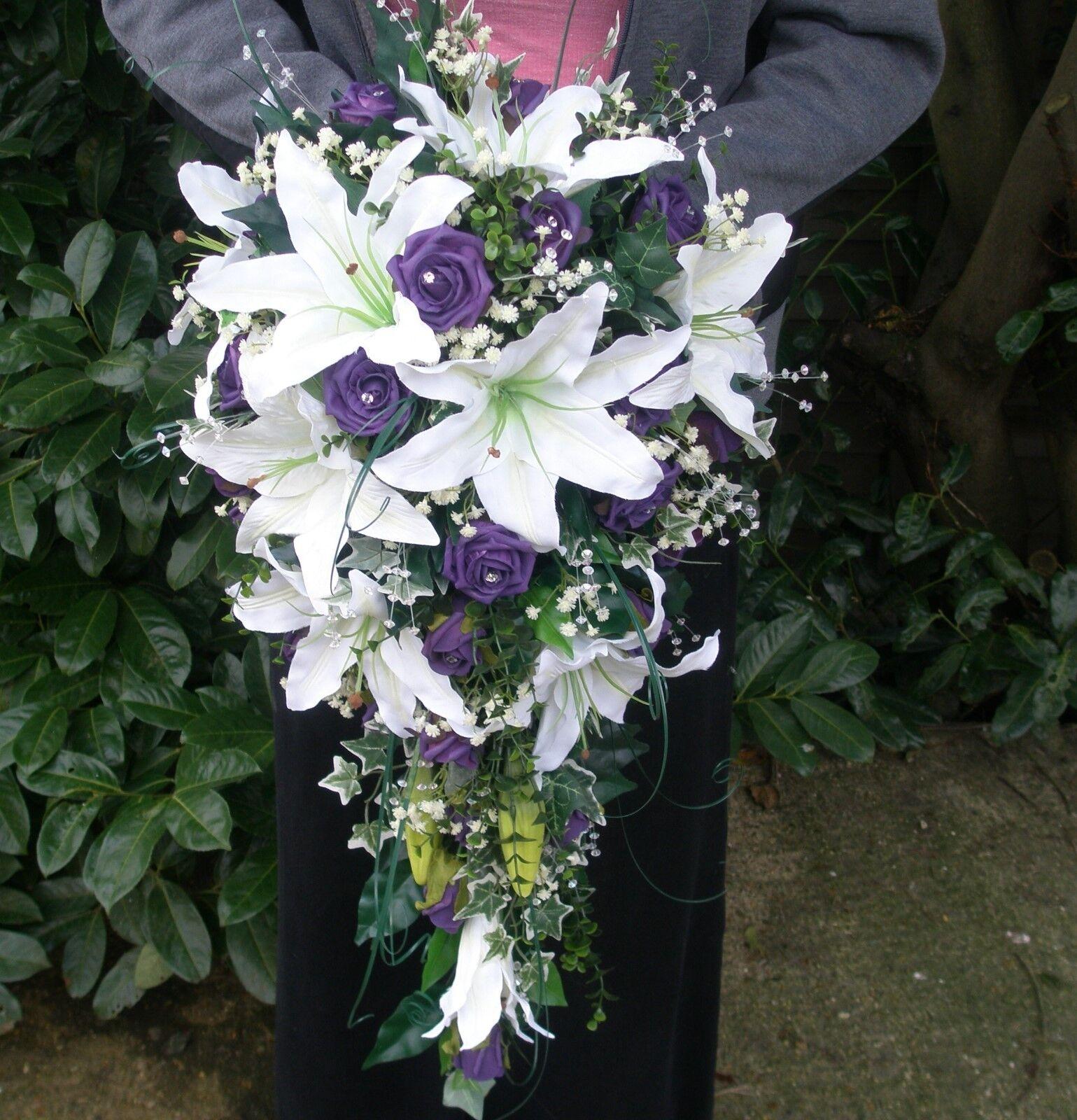 Mariage Douche Larme Bouquet brides Bridal Silk & Mousse Artificielle Fleurs
