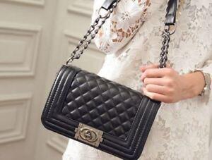 NEW-Women-Quilted-Leather-Shoulder-Messenger-Chain-handbag-black-fashion-Bag