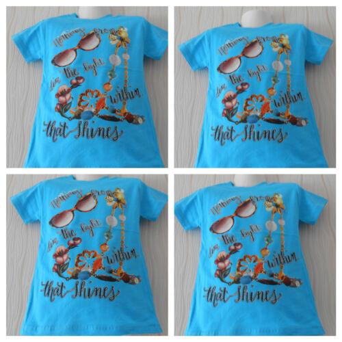 Shirt,Mädchen T-Shirt,Kurzarm Shirt,Himmel-Blau,Gr.,104,110,116,122,128