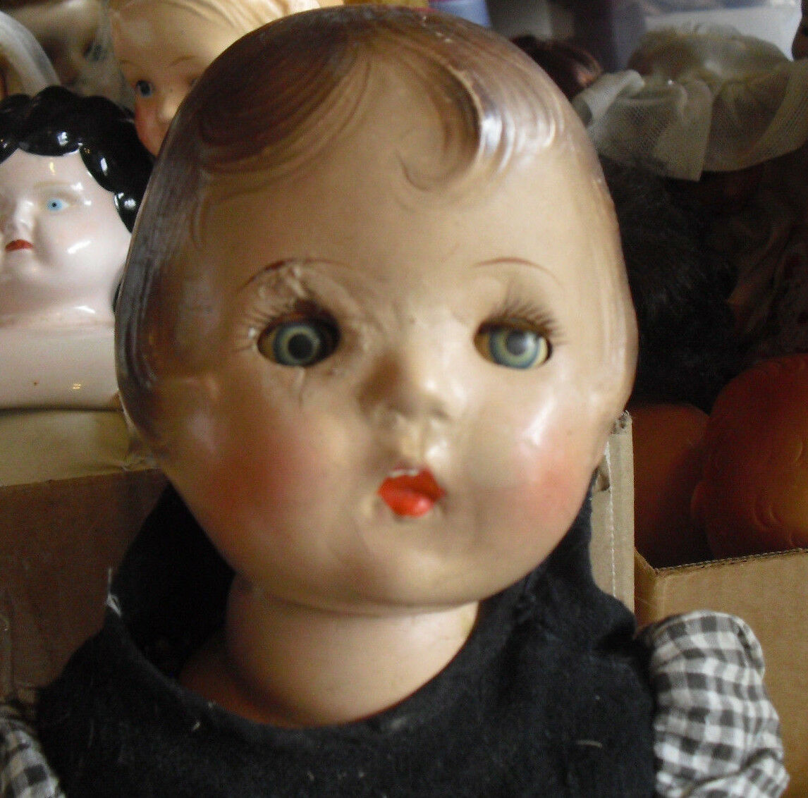 Vintage 1920s Acme Toy Composition Girl Doll Tin Sleepy Sleepy Sleepy Eyes 17