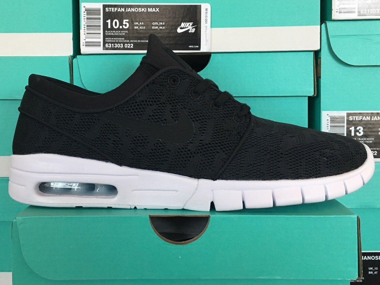 Nike Nike Nike SB Stefan Janoski Max Black White 631303-022 Sizes 8-13 cfee3b