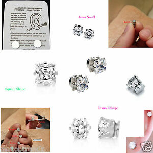 bb67e9ed0 Image is loading Sparkly-Crystal-Magnetic-Earrings-ROUND-SQUARE-Clip-On-
