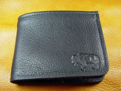 Black Bison BUFFALO LEATHER Bi Fold Wallet hand crafted disabled Navy vet  5010