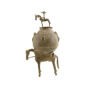 Pentola-Per-Unguenti-Magici-Cavallo-Cavaliere-Dogon-Bronzo-Di-Mali-Arte-Africano