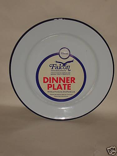 New falcon blanc avec bleu émail rond tarte dîner plaque de cuisson plat étain 22cm
