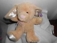 Goffa Tan Cream Ivory Pink Nose Bunny Rabbit Plush Ribbon Lovey 10
