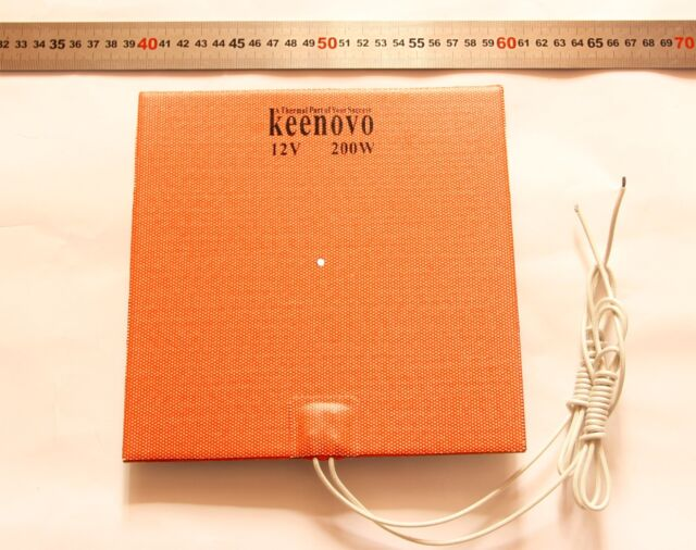 20cm X 20cm 200W 12V,Silicone Heater Pad,3D Printer HeatBed, w/3M PSA & 4mm hole
