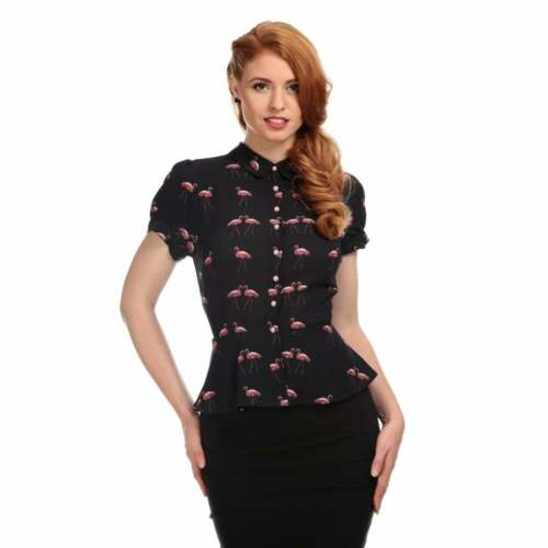 Collectif Vintage Mary Grace Winter Flamingo Blouse