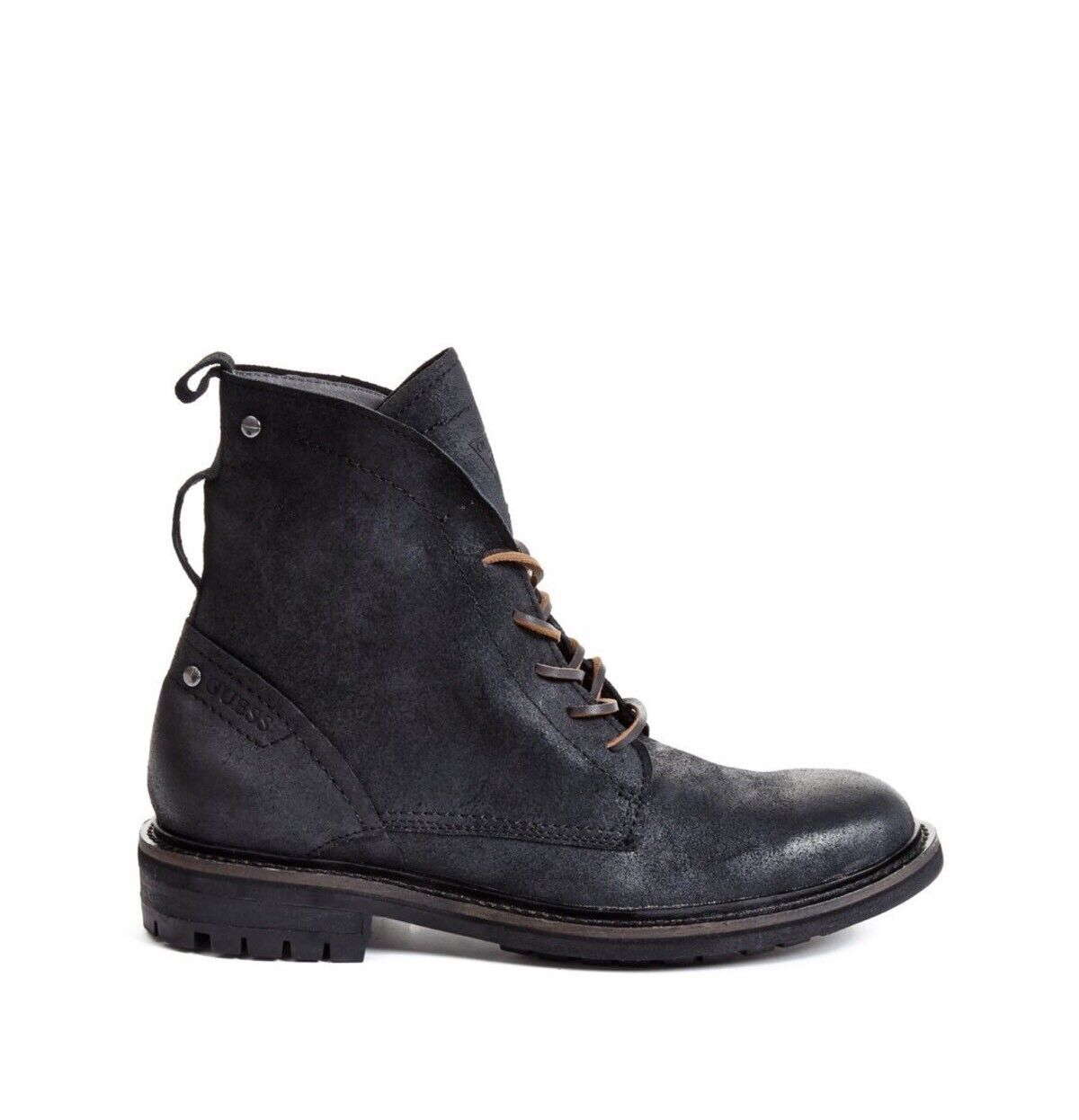 Guess Men's Remmy Boots In Black Leather Stacked Heel Lace Up Size 7.5