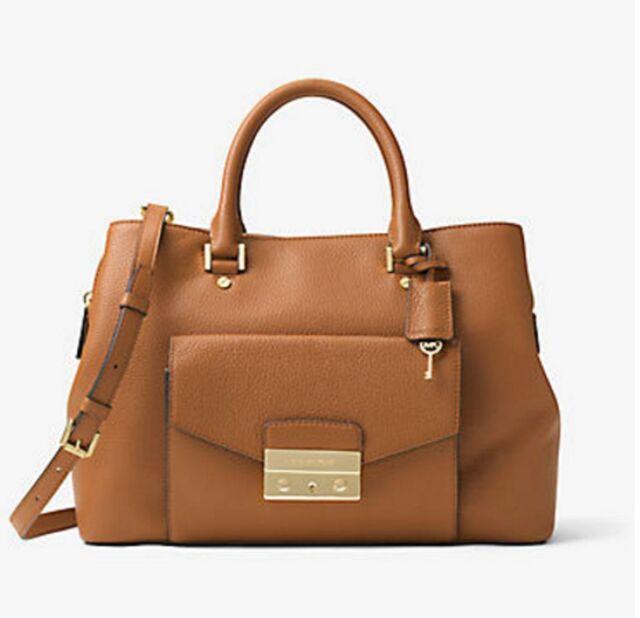 Nwt Michael Kors Handbag Haley Large Leather Satchel Shoulder Bag 448 Acorn