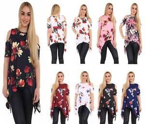 New-Womens-Cut-Out-Cold-Shoulder-Hanky-Hem-Floral-Print-Top-Dress-Plus-Size-8-26