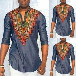 Dashiki-Shirt-Long-Sleeve-Mens-Tribal-African-V-neck-Print-Blouse-Hippie-Top-Tee