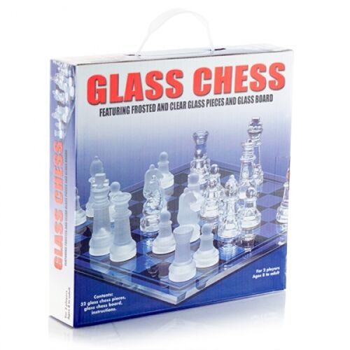 32PCS FROSTED GLASS CHESS BOARD TRADITIONAL CLASSIC FAMILY GAME GIFT FUN PARTY