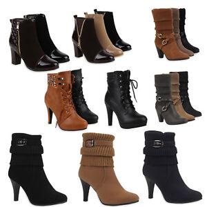 promo code 9d7e3 9870b Details zu Gefütterte Damen Stiefeletten & Stiefel Winter High Heels 99863  Gr. 35-41 Schuhe