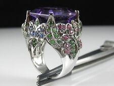 Amethyst Tsavorite Ruby Sapphire Ring 14K White Gold Signed Andy G $4500
