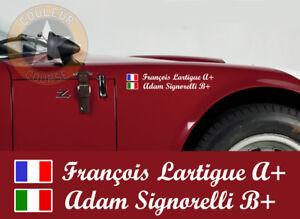 006 2 X Sets Nom Pilote Drapeau Course Blanc Autocollant Sticker Copilote