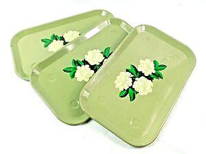 Lot-of-3-Vintage-Metal-Serving-Lap-TV-Trays-Green-w-White-amp-Green-Floral-Pattern