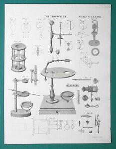 MISCROSCOPE-Compound-Pocket-Universal-1818-Antique-Print