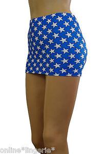 MINI-SKIRT-Blue-White-STARS-Wonder-Woman-Short-Party-Micro-Clubwear-Bodycon-CS62