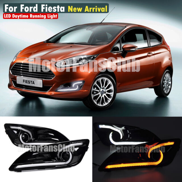 White/Yellow Daytime Running Fog Lamp DRL For Ford Fiesta 2013-2016 Replacement